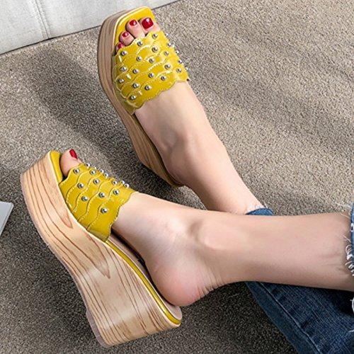 Mujer Chanclas antideslizante Playa 8 Amarillo exterior Pendiente inferior grueso SCLOTHS 5cm Verano 5Td6qYw