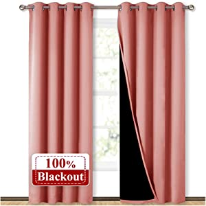 NICETOWN 100% Blackout Window Curtain Panels, Heat and Cold Blocking Drapes with Black Liner for Nursery, 84 inches Drop Thermal Insulated Draperies (Coral, 2 Pieces, 52 inches Wide Each Panel)