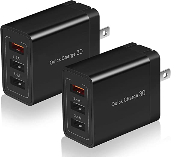 2X USB HOME WALL TRAVEL ADAPTER POWER CHARGER 2A BLACK GALAXY TAB NOTE S4 CAMERA