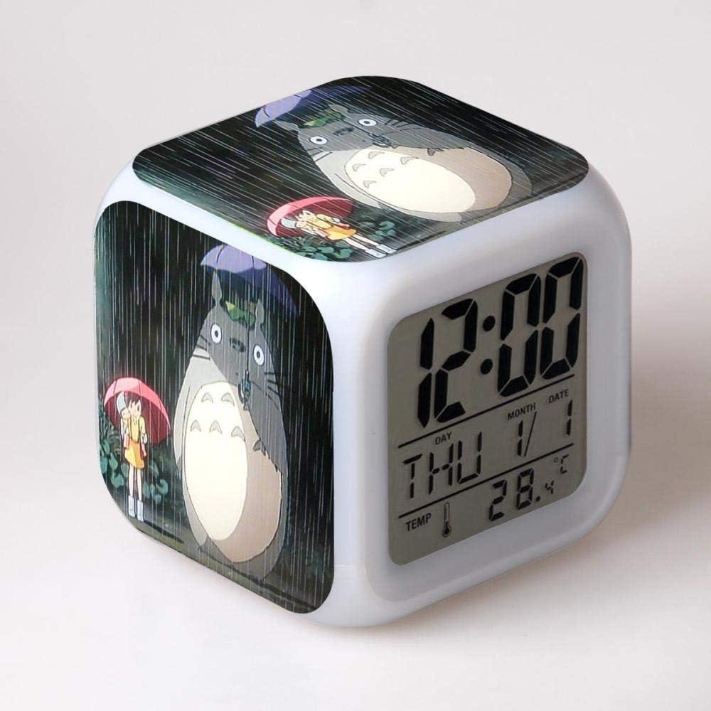 Running man123 store Despertador Infantil mesita de Noche Despertador Despertador Digital Despertador con Puerto de Carga USB LED luz de Noche Colorida iluminación Despertador de Viaje Mudo T5928