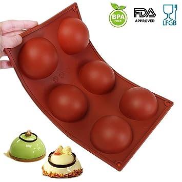 amison 6 molde de silicona/molde para magdalenas, brownies, cupcakes, tartas, Pudding, cubitos de hielo y jalea - Media Bola: Amazon.es: Hogar