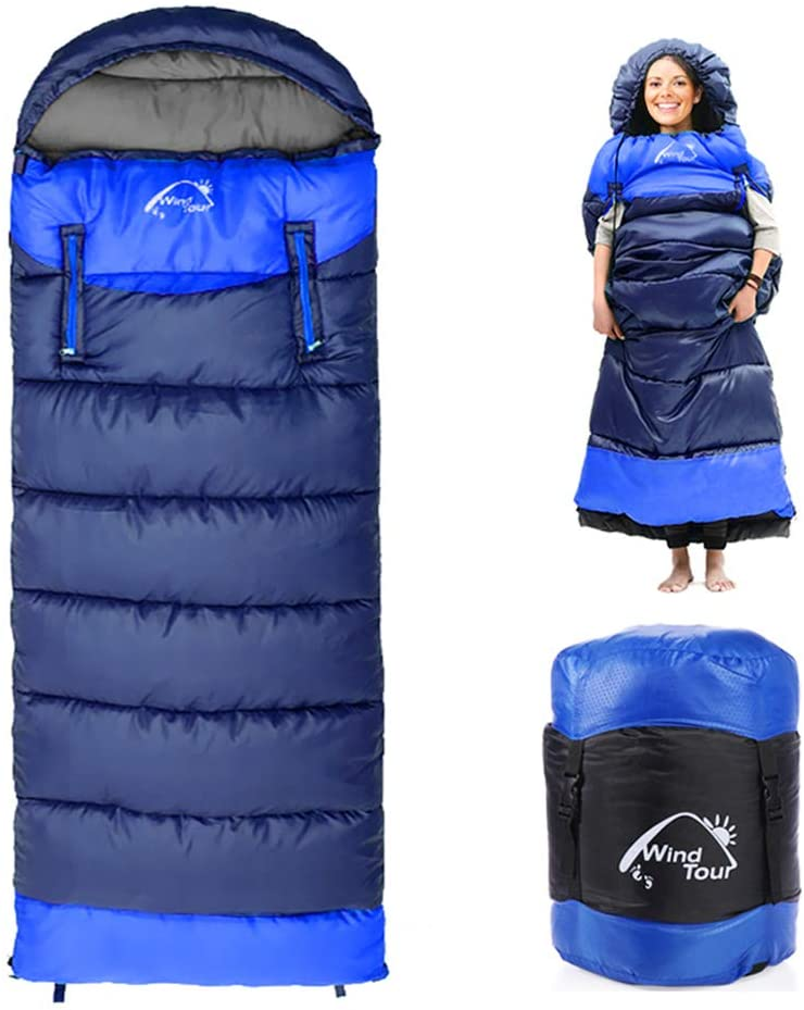 0 Degree Wearable Sleeping Bag for Adults Compact Lightweight Cold Weather Mummy Sleeping Bags for 2-3 Season Camping Backpacking, Fits 5°F ~ 50°F, 4.3lbs More Warmer (Green, Left) 61C7k8VQnTL