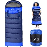 0 Degree Wearable Sleeping Bag for Adults Compact Lightweight Cold Weather Mummy Sleeping Bags for 2-3 Season Camping Backpacking