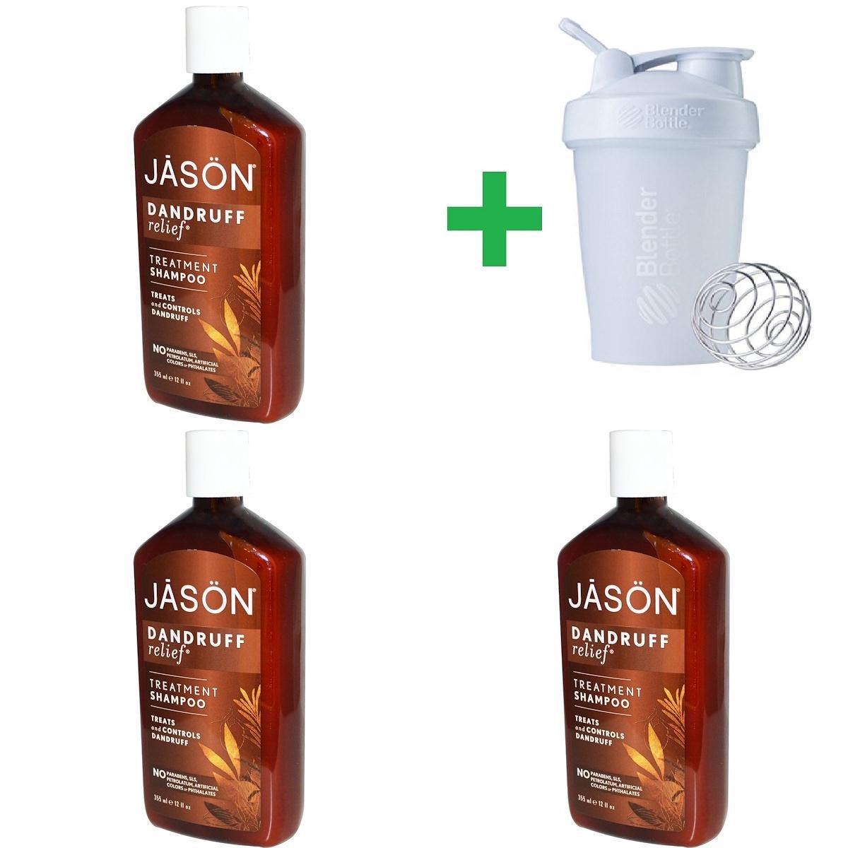 Jason Natural, Treatment Shampoo, Dandruff Relief, 12 fl oz (355 ml) (3 PCS)+ Assorted Sundesa, BlenderBottle, Classic With Loop, 20 oz