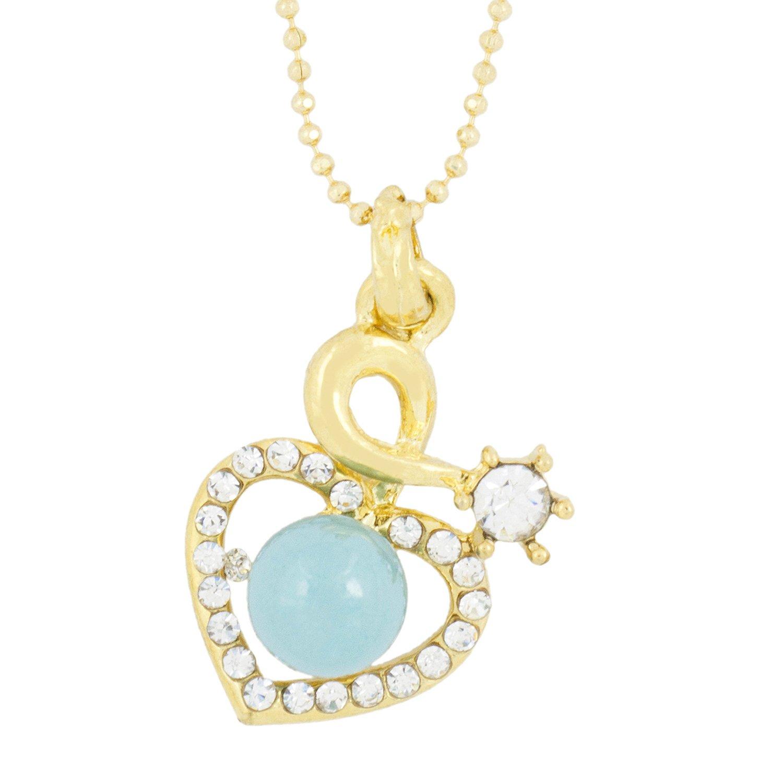La Jewelbox corazón 18K oro azul latón American Diamond Pearl Juego de collar cadena colgante niñas Mujeres