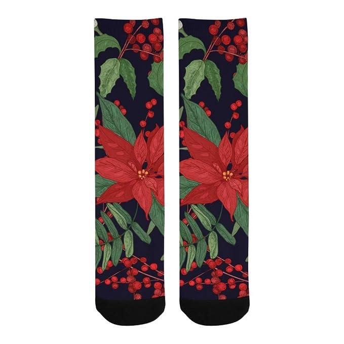 6bc76f5f7f932 Amazon.com: Red Flower Poinsettia Warm Crew Soccer Knee High Dress ...