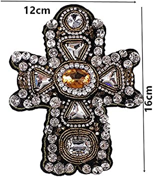 cross petal 2PC Gold Crown Applique Cross Design Petal Patches Beaded Crystal Sewing for Dress Jacket Rhiestones Sewing Accessories TH727