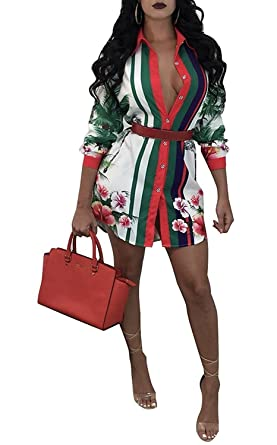 Young17 Long Sleeve Spring Floral Printed Button Down Long Shirt Dress  Casual Blouse Tunic 781c7c953