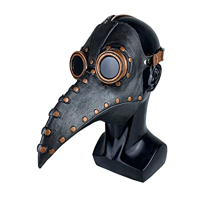 Latex Leather Plague Doctor Bird Mask Halloween Costume Long Nose Beak Cosplay: Clothing