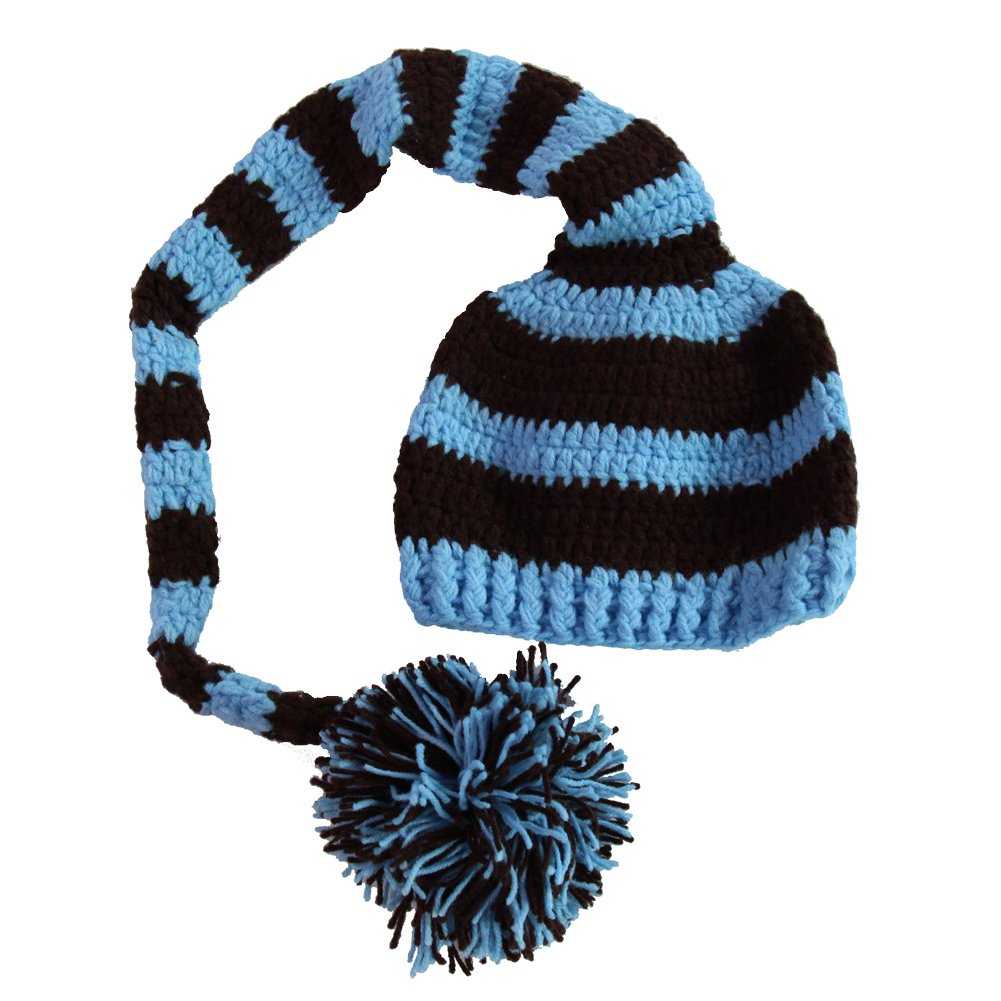 Amazon.com  Kafeimali Baby Christmas Elf Long Tail Crochet Beanie Knit Hat  Stocking Caps (Blue)  Clothing 371e801d8b4
