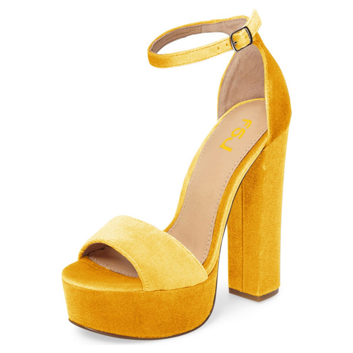 FSJ Women Sexy Ankle High Strap Platform Sandals Chunky High Ankle Heel Open Toe Velvet Shoes Size 4-15 US B0796LYC7R 14 B(M) US|Yellow d16156