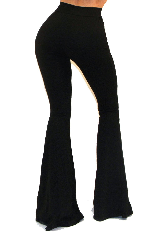 VIVICASTLE Women's Boho Solid Hippie Wide Leg Flared Bell Bottom Pants (Medium, Black) by Vivicastle (Image #4)