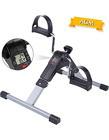 AGM Mini Bicicleta Estática, Pedaleador Plegable LCD Pantalla, Máquinas de piernas,Ejercitadores de