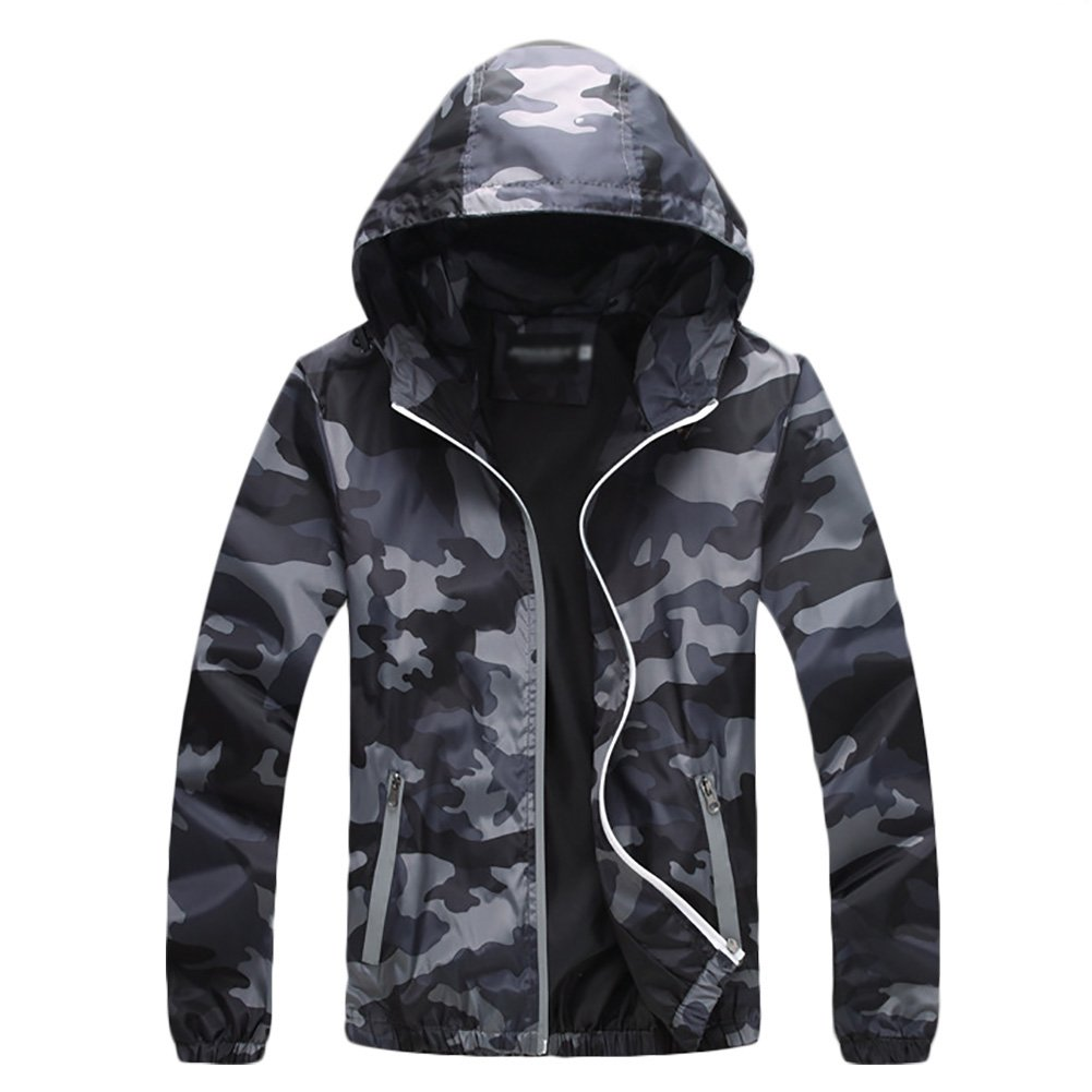 IyMoo Windproof Cycling Bike Bicycle Fleece Winter Thermal Jacket Camouflage Gray Small by IyMoo