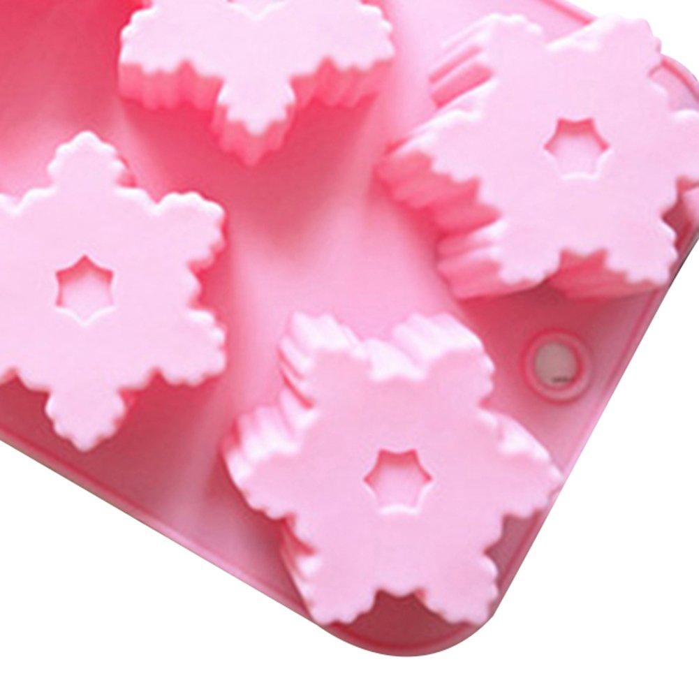 17.5 Monbedos Moule Rose Taille 25.5 4cm De No/ël Flocon De Neige Silicone G/âteau Moule Pudding Gel/ée Moule Main Savon Moule Facile Lib/ération