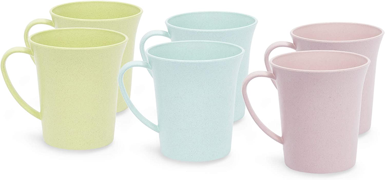 Wheat Straw Mugs, Unbreakable Coffee Mug Set (11 oz, 6 Pack)