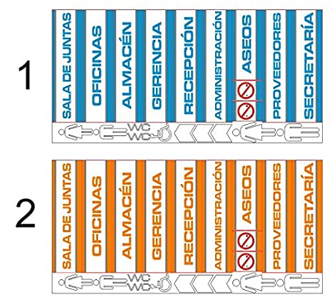 Pack 11 unidades Señaletica azul naranja en Panel sandwich de aluminio blanco 28,7x7,