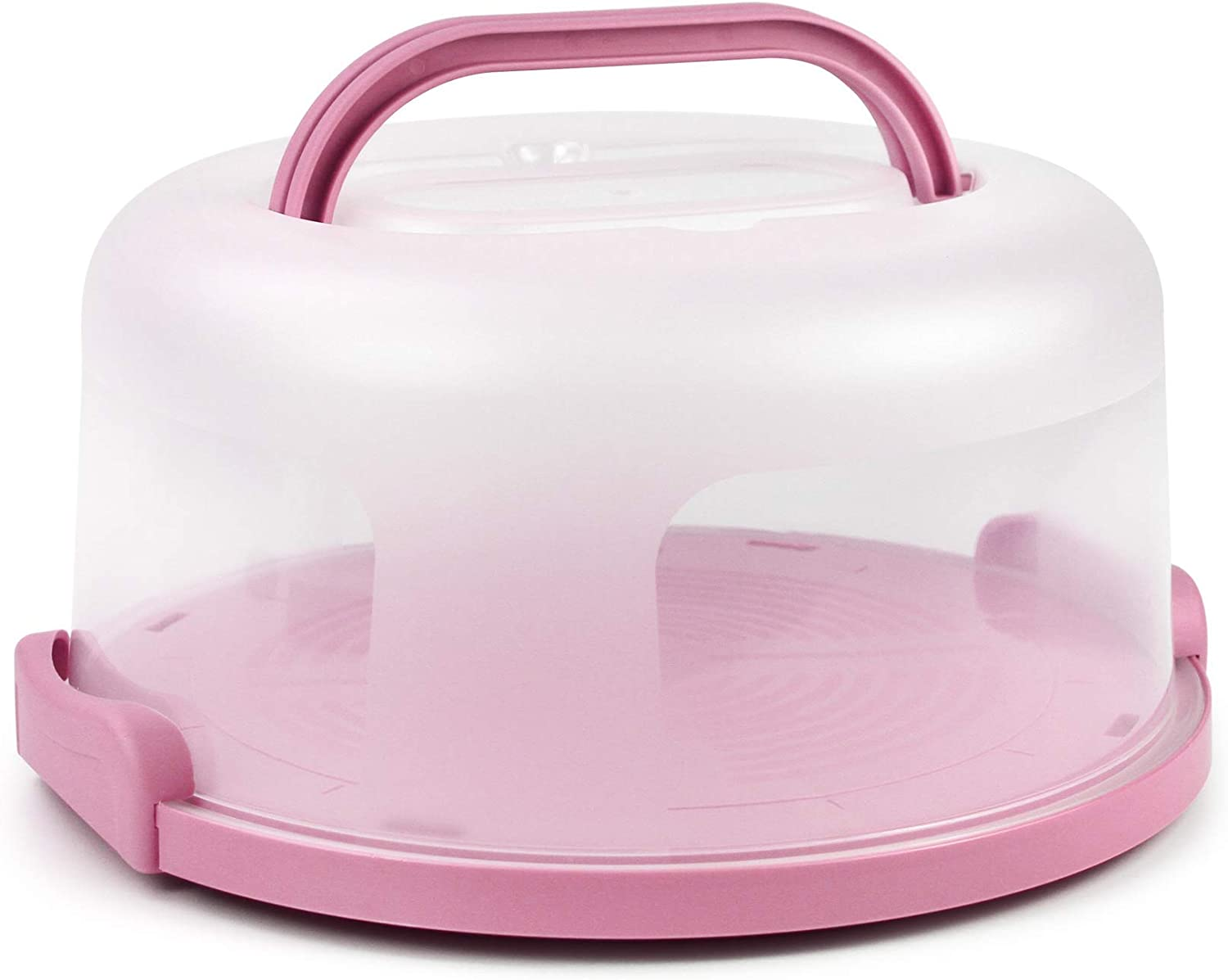 Cake Carrier with Handle 10in Cake Stand Pink Cake Holder Cover Round Container for 10in or Less Size Pink