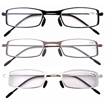 fa866aa7f586 Eyekepper 3 Pcs Mix Unique Lightweight Stainless Steel Frame Cheap Reading  Glasses for Men and Women