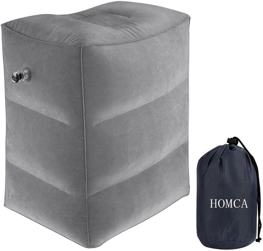 Almohada de Descanso para Las piernas, HOMCA Almohada Inflable para Aviones, automóviles, autobuses, Trenes, oficinas y niños para Dormir en vuelos Largos