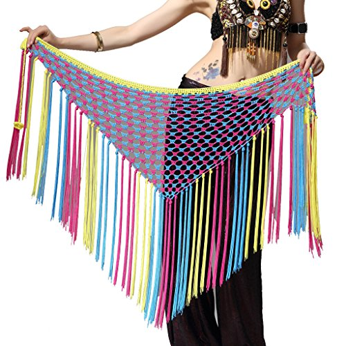 ZLTdream Women's Belly Dance Three-colors Argentina Triangle Short Tassels Hip Scarf