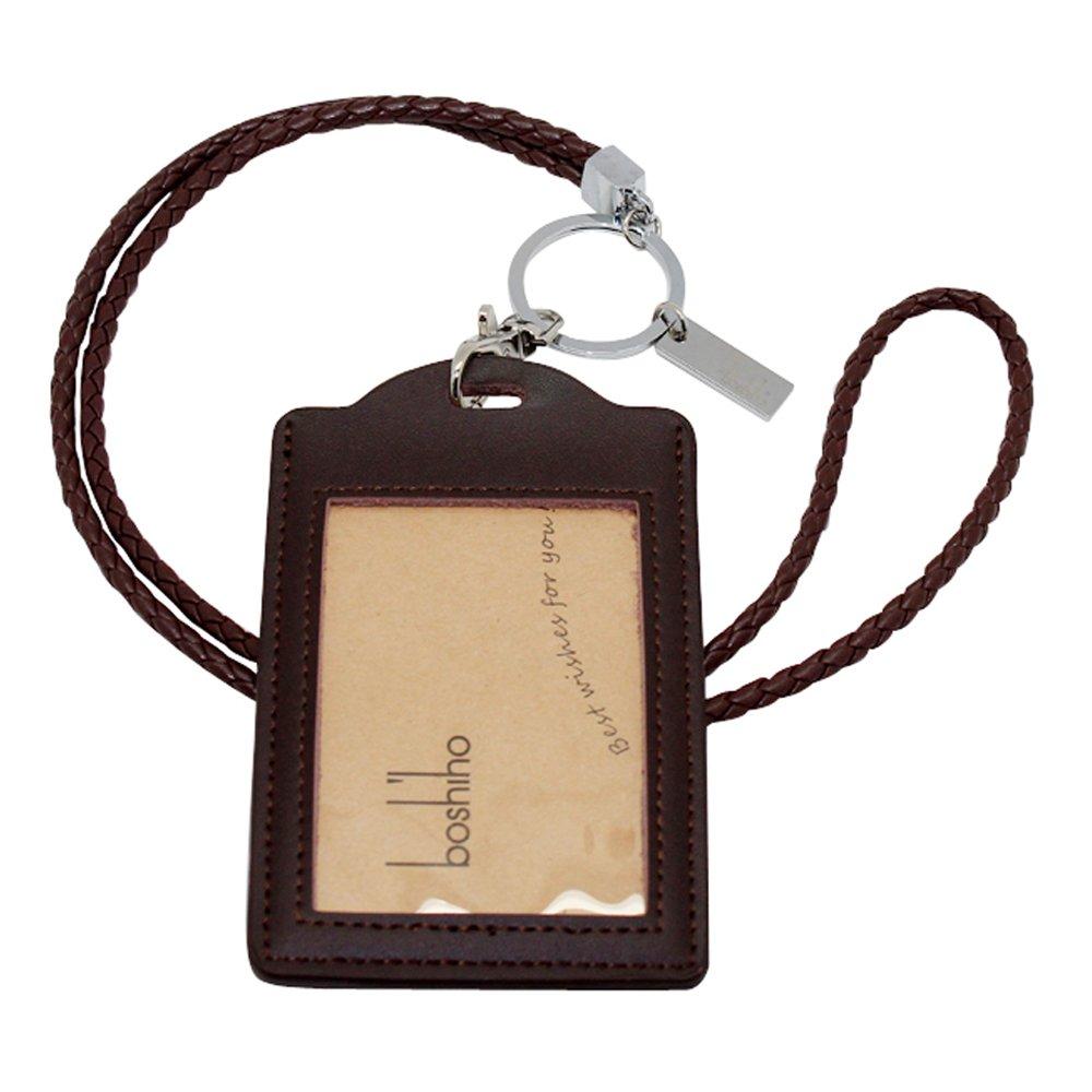 Boshiho, cordino da ufficio con porta badge e tracolla di pelle sintetica di poliuretano PU, con gancio robusto per carte di credito, chiavi, badge, USB o telefono cellulare 16'' (40,64 cm) Black with Keychain BOSHIHO-LEATHER-LANYARD-0182