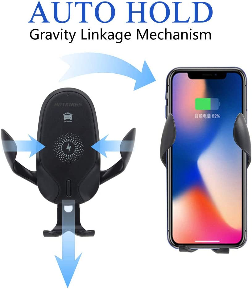 HOTKINGS Fast Charge Wireless car Charger with Car Air Vent Mount Phone Holder Kit Adjustable