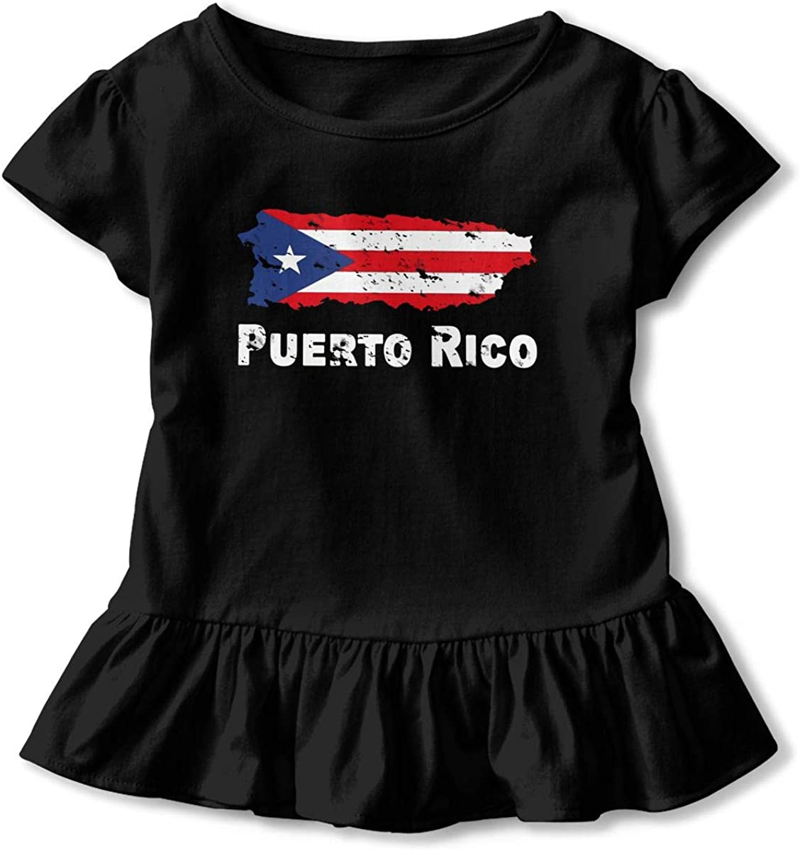 Puerto Rico Flag Support Puerto Rico Toddler Girls T Shirt Kids Cotton Short Sleeve Ruffle Tee