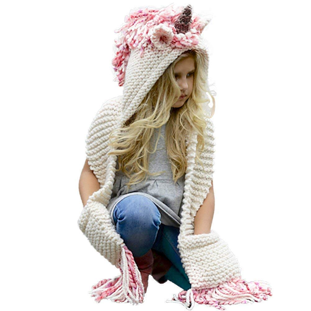 Amknn Crochet Cartoon Unicorn Winter Hat with Scarf Pocket Hooded Knitting Beanie Hat & Glove Sets