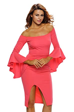 50eba5eeff81 SunShine Sexy Red Ruffle Sleeve Off Shoulder Midi Dress For Women at ...