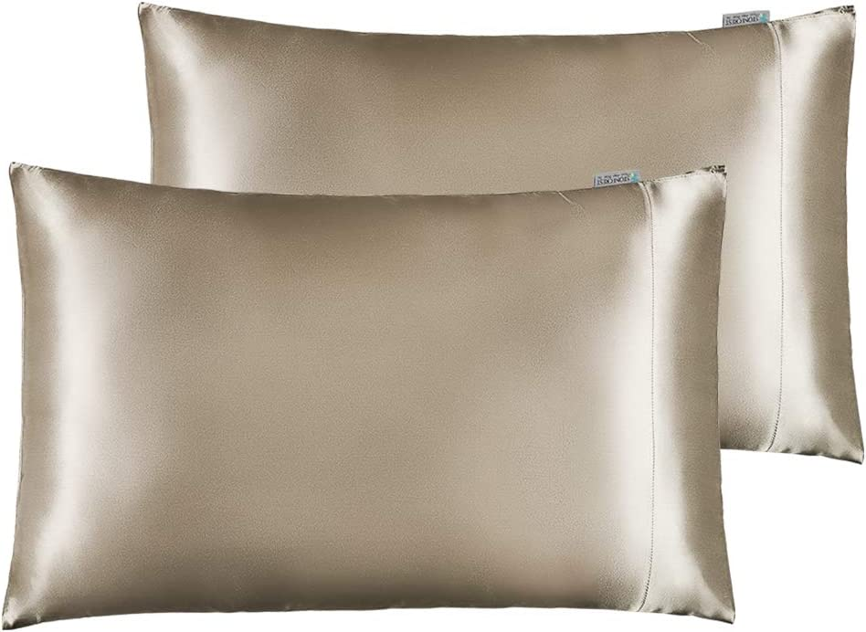 """STONECREST Satin Pillowcase for Hair and Skin Care, Set of 2 Soft Breathable Queen Standard Size Silky Satin Pillowcases (20 x 30"""")(Camel,Standard/Queen)"""