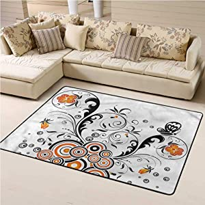 Printed Area Rug Garden Soft Indoor Mat Decorative Carpet Flower Butterflies 6' x 9' Rectangle