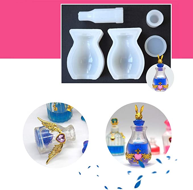 adgbd Flasche Silikonformen Feenflaschen Lampen Silikonformen Kreative Flasche Holzstopper F/ür Epoxidharz Casting Kerze Seife Machen Blume Probe Home Party Decor Geschenk Kunstbedarf
