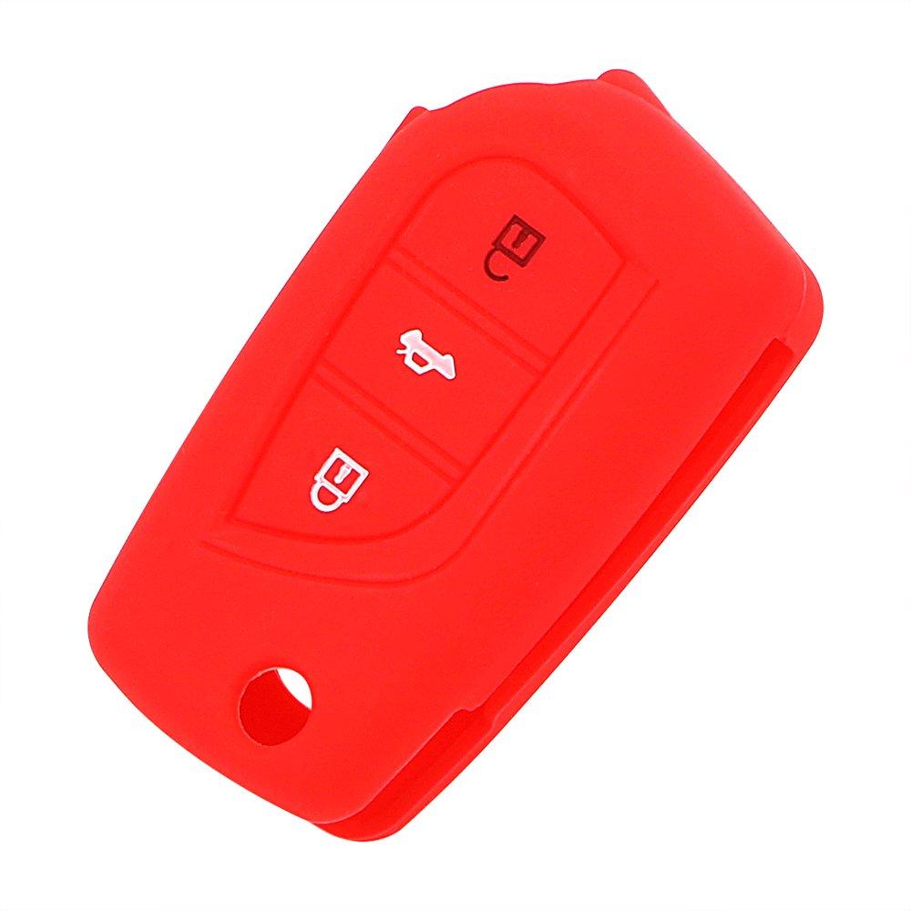 Custodia per chiave elettronica dell/'auto in silicone iTimo per Toyota colore: rosso