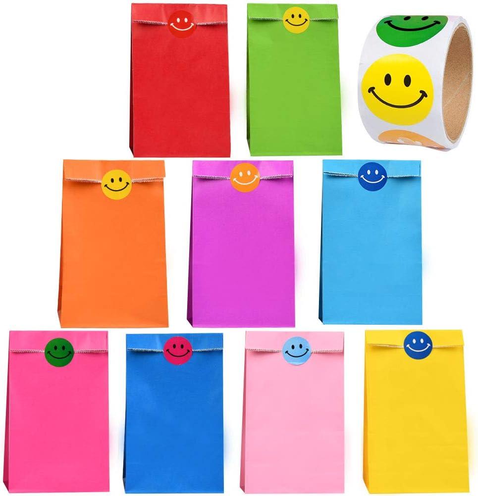 WOWOSS 45Pcs Bolsas de Papel Kraft para Regalos 9 Colores Bolsas de Papel kraft Pequeñas con 100 Pegatinas de Cara Sonriente para Papel Bolsas de Regalo Fiesta, Boda, Cumpleaños