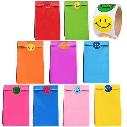 WOWOSS 45Pcs Bolsas de Papel Kraft para Regalos 9 Colores Bolsas de Papel kraft Pequeñas con 100 Pegatinas de Cara Sonriente para Papel Bolsas de ...