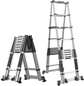 Escalera telescópica Bastidor en A con barra estabilizadora Escalera de seguridad Escalera telescópica plegable de aluminio Escalera de doble extensión escape portátil multipropósito Carga 150kg: Amazon.es: Hogar