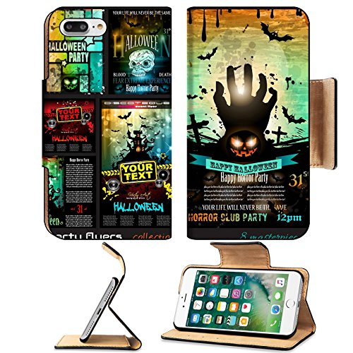 Liili Premium Apple iPhone 7 Plus Flip Pu Leather Wallet Case iPhone7 Plus 32322977 Halloween Party Flyer with creepy colorful elements with a black portion of background for your t (Halloween Flyer Background)
