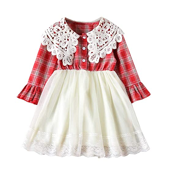 Toddler Kids Baby Girl Casual Clothes Long Sleeve Party Plaid Swing Dress Tops