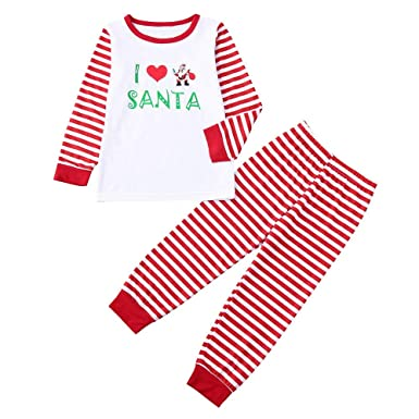 26b31a4cd9b8 Amazon.com: Baby Toddler Girls Boys Christmas Pajamas Outfits Clothes 1-5  Years Old, 2Pcs Kids Sleepwear Xmas Set: Clothing