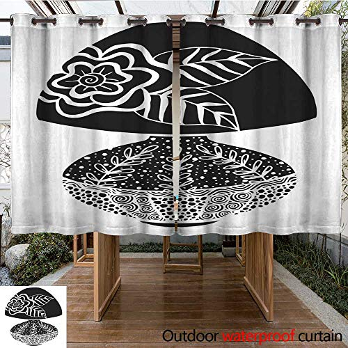 - RenteriaDecor Outdoor Curtains for Patio Sheer Hand Drawn Black and White Retro Table lamp Illustration W108 x L72