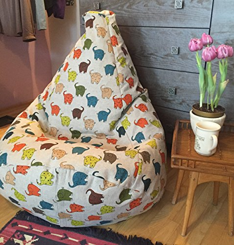Bean Bag Chair Linen Cover Elephant Print Reading Nook Kids Room or Nursery Decor Children soft Seating Natural Eco friendly Fabrics Colorful Large Floor Pillow Playroom Furniture