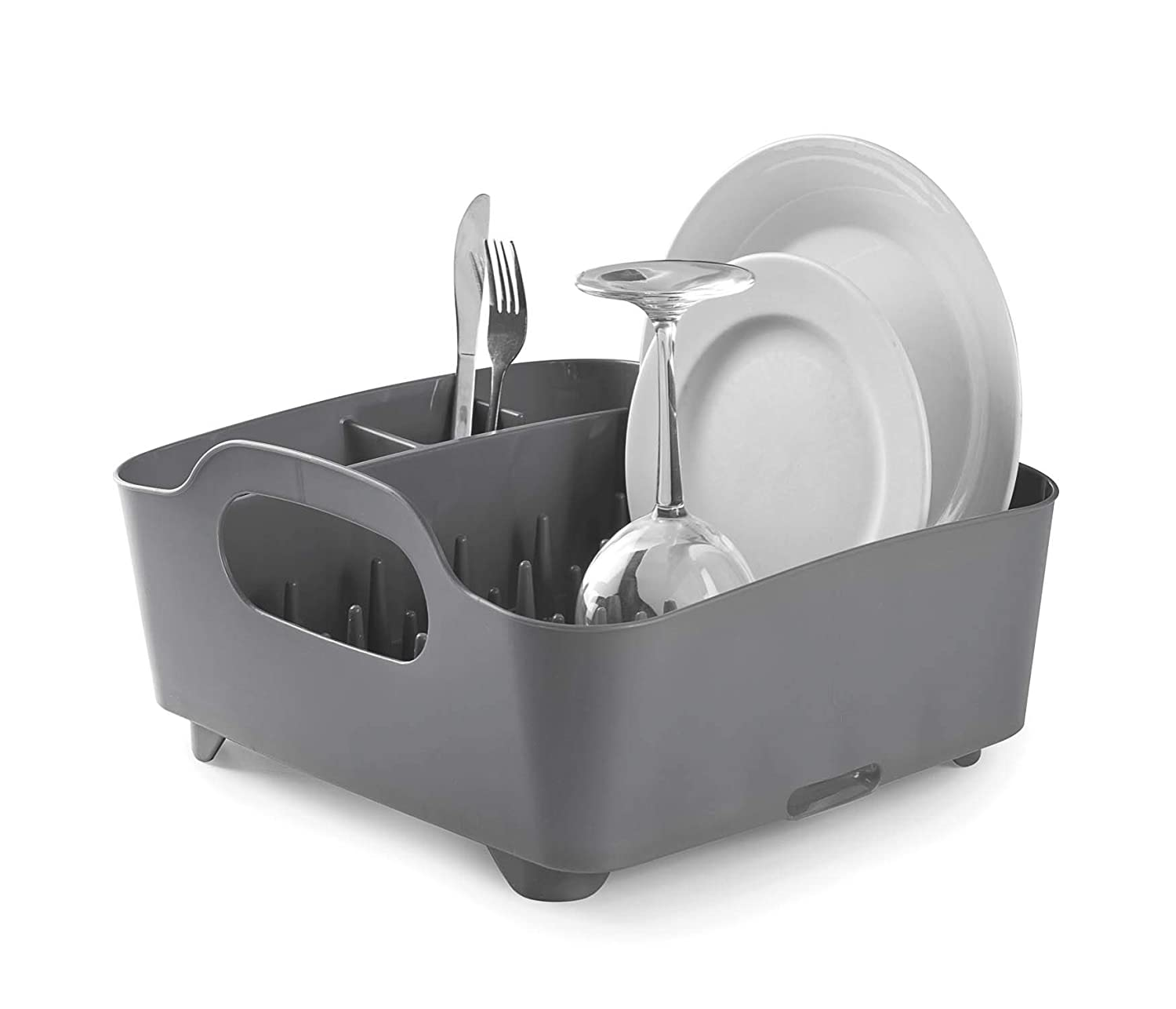 Umbra Tub Dish Drying Rack – Lightweight Self-Draining Dish Rack for Kitchen Sink and Counter at Home, RV or Motorhome, Charcoal