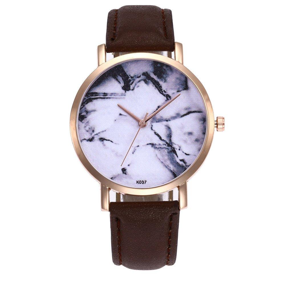 DressLksnf Reloj Lujo Moda de Mujer Pulsera Deportiva Acero Inoxidable Durable Correa de Cuero Digital Clásico Banda de Reloj Cadena Ajuste Simple Patrón de ...