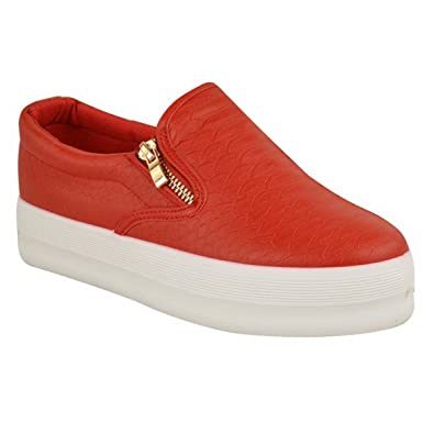 a83a43555c1e Womens Ladies Skater Flatform Chunky Sneakers Slip ON Plimsolls Zip Shoes  Size  Red Croc Faux
