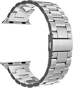Simpeak Band Compatible with Apple Watch 38mm 40mm Series 6 SE 5 4 3 2 1, Women Men Solid Stainless Steel Business Band Strap Replacement for iWatch 38 40, Large,Silver