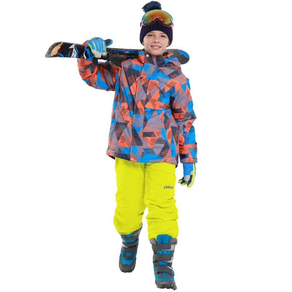 Jaune 9-10 ans   134 140 LSERVER Enfant Filles Garçons Ensemble 2 Piéces Veste de Ski Pantalon Neige veste Snowproof Parka