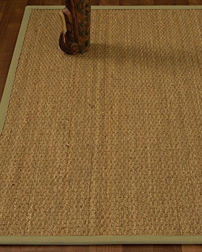 (NaturalHomeRugs Celano Seagrass Area Rug, Handmade in USA, 100% Natural Seagrass, Non-Slip Latex Backing, Durable, (5-Feet by 8-Feet) Khaki Border + Bonus Rug Pad)
