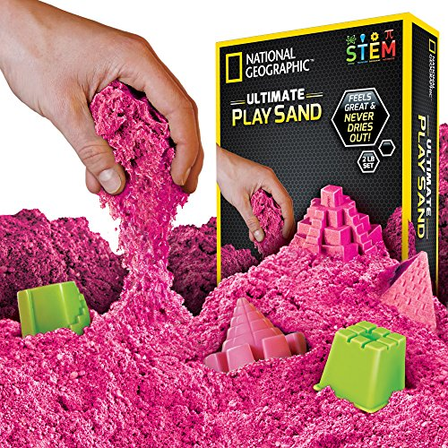 NATIONAL GEOGRAPHIC Play Sand - 2 LBS of Sand with Castle Molds and Tray (Pink) - A Kinetic Sensory Activity ()