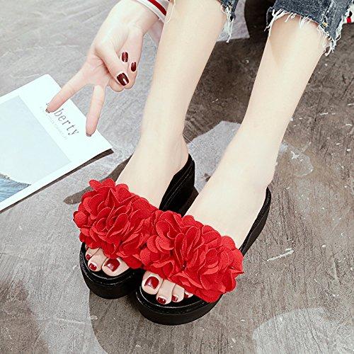 GAOLIM Flores De Primavera Y Verano Bizcocho Espesa Estudiantes Ocio Cool Zapatillas Y Zapatos De Mujer Versátil El rojo
